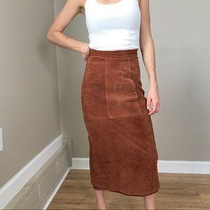 Vintage Camel Tan Brown Suede Leather Midi Skirt